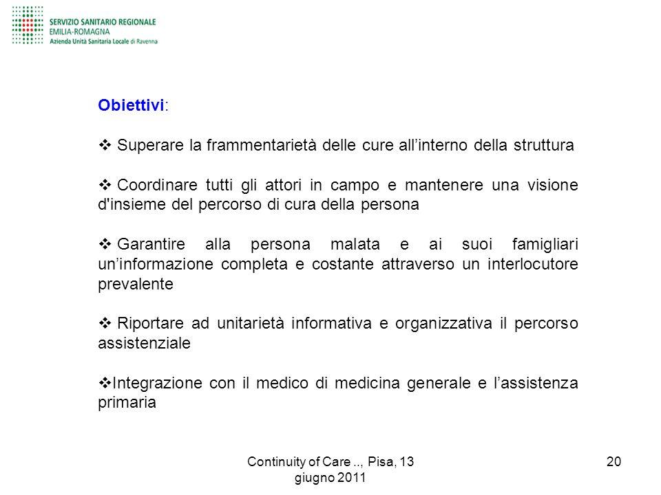 Obiettivi:  Superare la frammentarietà delle cure all'interno della struttura  Coordinare tutti gli attori in campo e mantenere una visione d'insiem