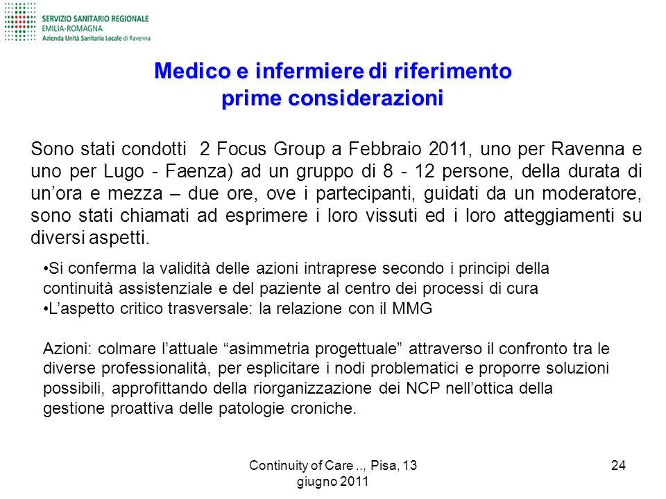 Sono stati condotti 2 Focus Group a Febbraio 2011, uno per Ravenna e uno per Lugo - Faenza) ad un gruppo di 8 - 12 persone, della durata di un'ora e m