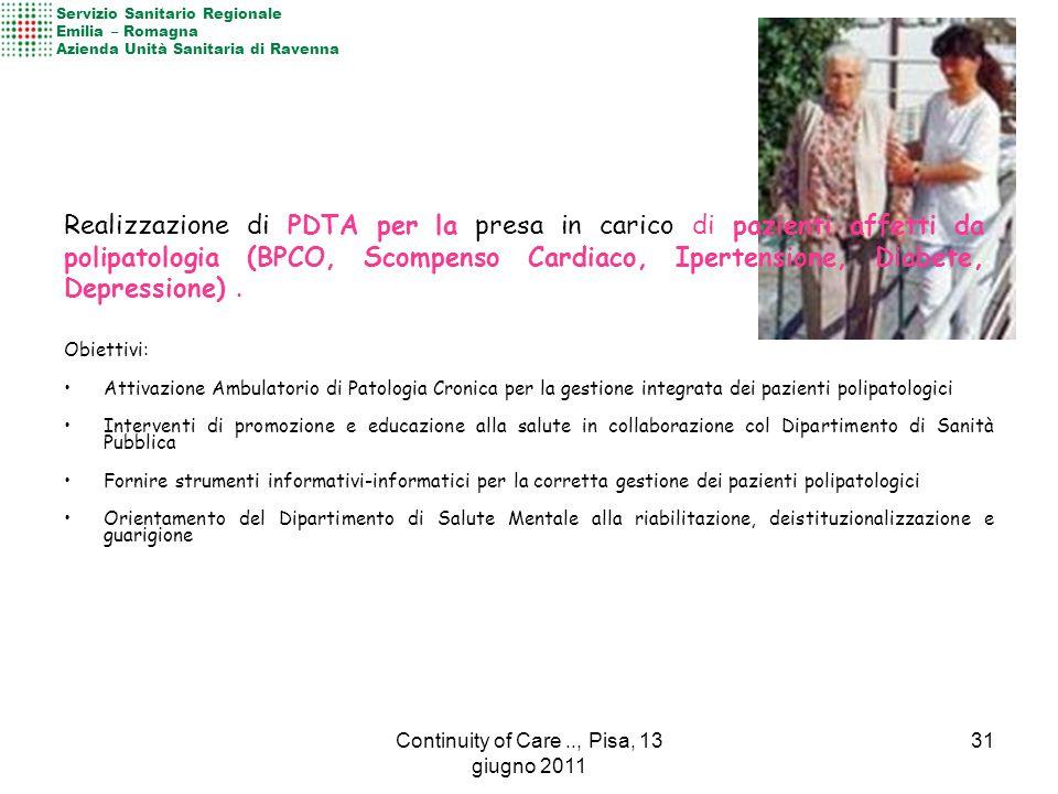 Obiettivi: Attivazione Ambulatorio di Patologia Cronica per la gestione integrata dei pazienti polipatologici Interventi di promozione e educazione al