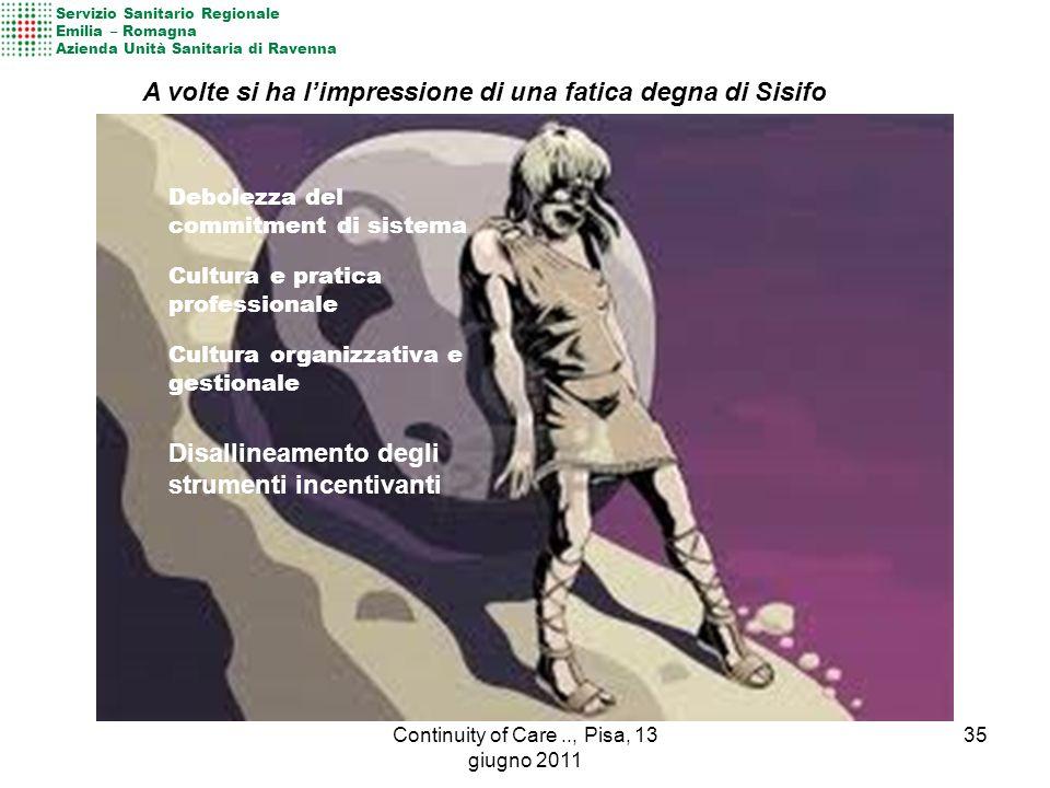 Servizio Sanitario Regionale Emilia – Romagna Azienda Unità Sanitaria di Ravenna Debolezza del commitment di sistema Cultura e pratica professionale C