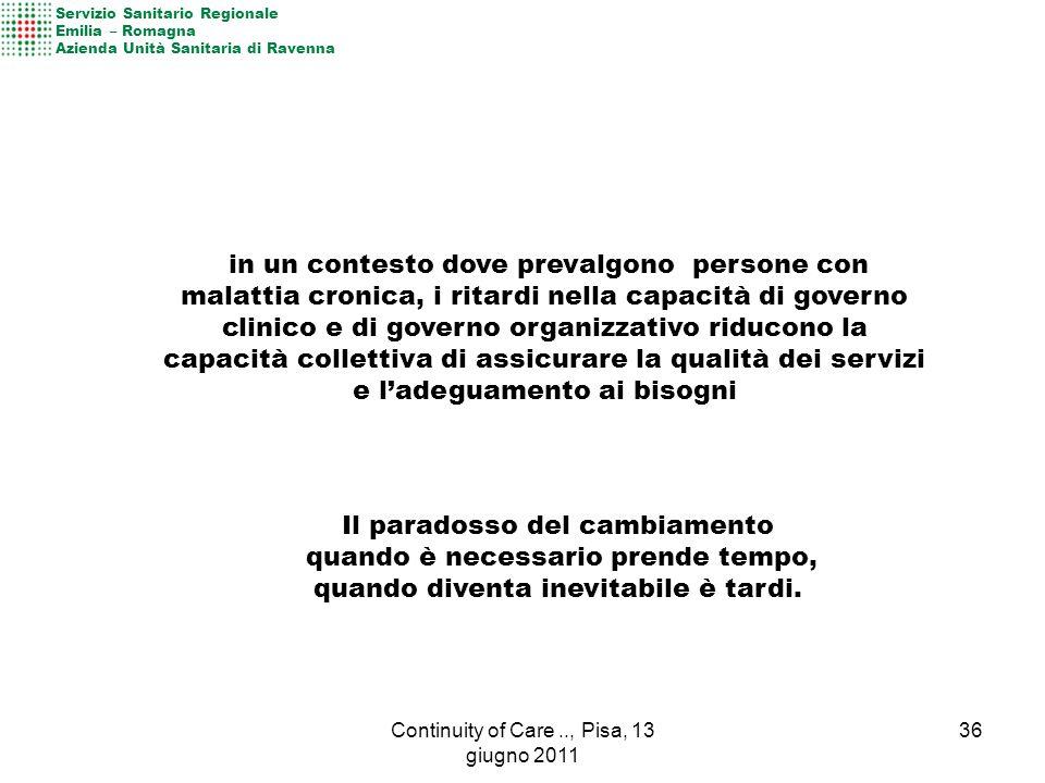 36Continuity of Care.., Pisa, 13 giugno 2011 Il paradosso del cambiamento quando è necessario prende tempo, quando diventa inevitabile è tardi.