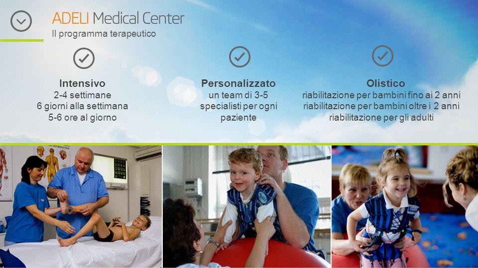ADELI Medical Center Il programma terapeutico Intensivo 2-4 settimane 6 giorni alla settimana 5-6 ore al giorno Personalizzato un team di 3-5 speciali