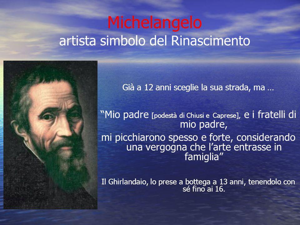 """Michelangelo artista simbolo del Rinascimento Già a 12 anni sceglie la sua strada, ma … """"Mio padre [podestà di Chiusi e Caprese], e i fratelli di mio"""