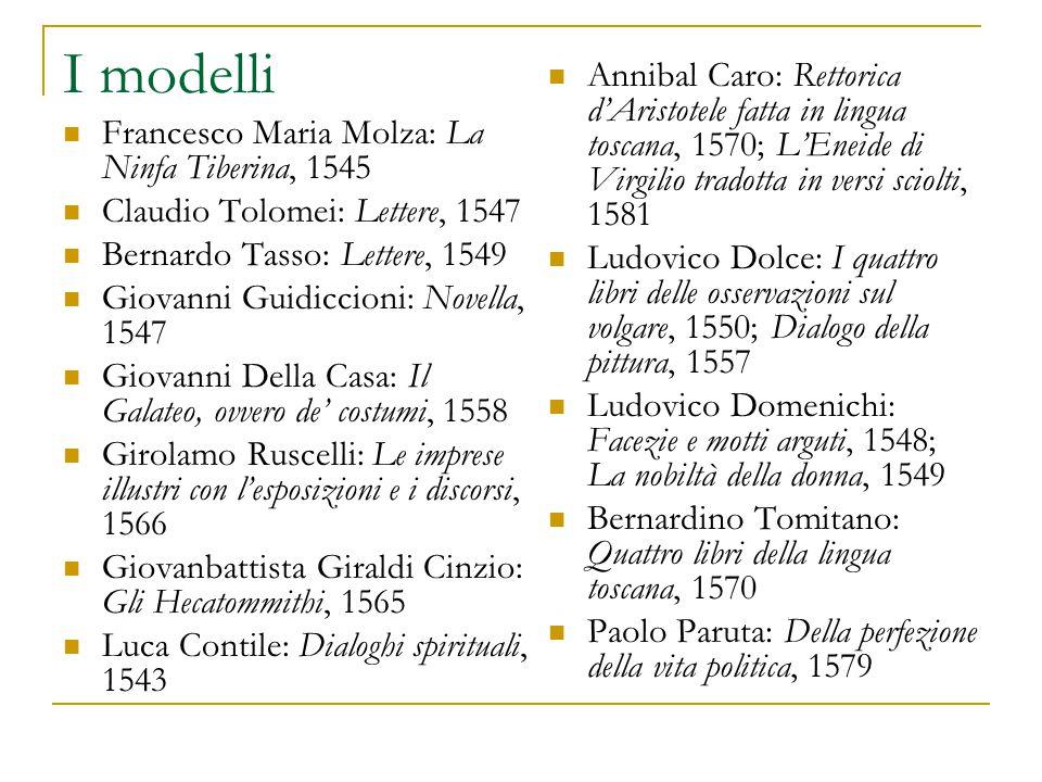 I modelli Francesco Maria Molza: La Ninfa Tiberina, 1545 Claudio Tolomei: Lettere, 1547 Bernardo Tasso: Lettere, 1549 Giovanni Guidiccioni: Novella, 1