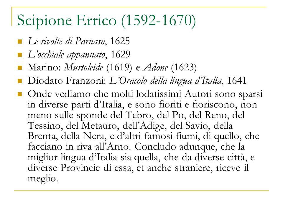 Scipione Errico (1592-1670) Le rivolte di Parnaso, 1625 L'occhiale appannato, 1629 Marino: Murtoleide (1619) e Adone (1623) Diodato Franzoni: L'Oracol