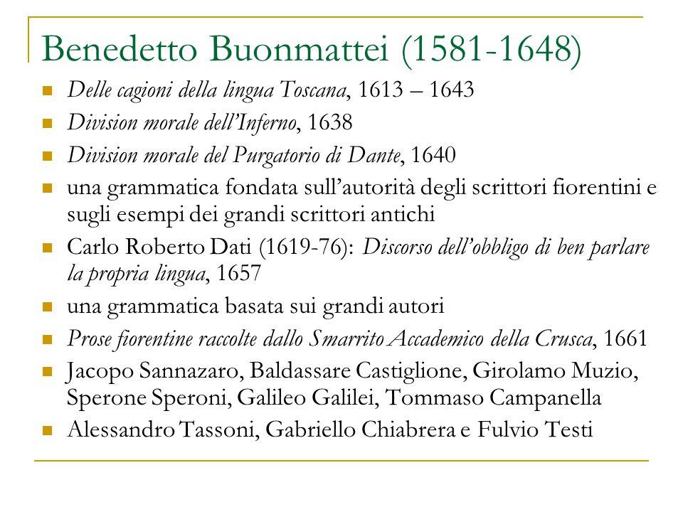 Benedetto Buonmattei (1581-1648) Delle cagioni della lingua Toscana, 1613 – 1643 Division morale dell'Inferno, 1638 Division morale del Purgatorio di
