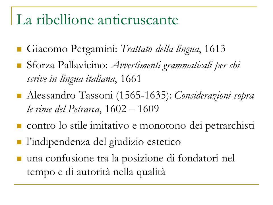 La ribellione anticruscante Giacomo Pergamini: Trattato della lingua, 1613 Sforza Pallavicino: Avvertimenti grammaticali per chi scrive in lingua ital