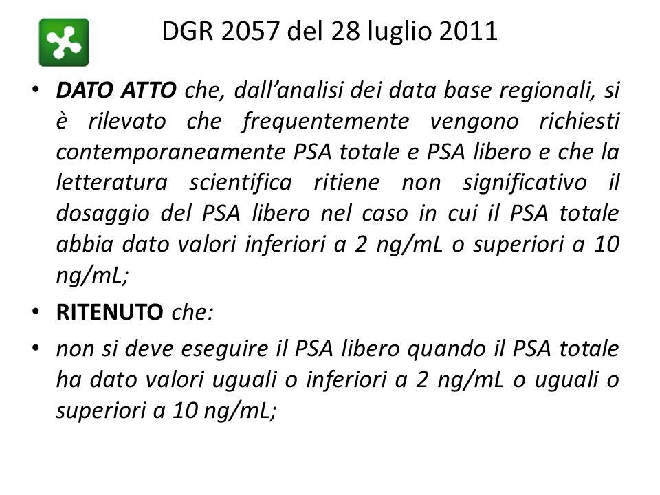 DGR 2057 del 28 luglio 2011 DATO ATTO che, dall'analisi dei data base regionali, si è rilevato che frequentemente vengono richiesti contemporaneament