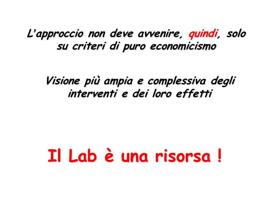 Il Lab è una risorsa ! L'approccio non deve avvenire, quindi, solo su criteri di puro economicismo Visione più ampia e complessiva degli interventi e