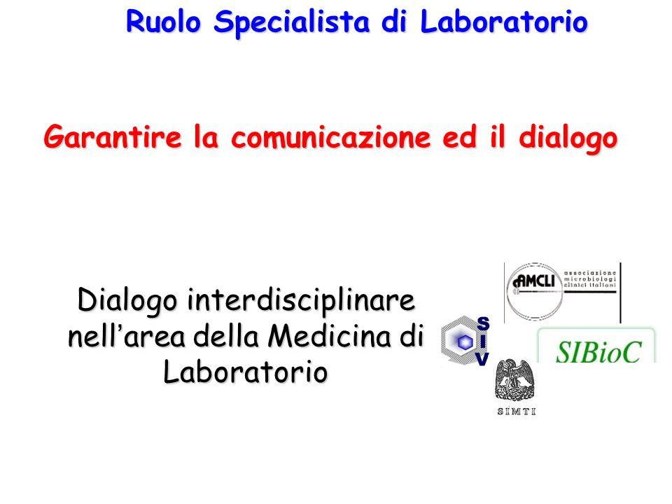 Dialogo interdisciplinare nell'area della Medicina di Laboratorio Ruolo Specialista di Laboratorio Garantire la comunicazione ed il dialogo