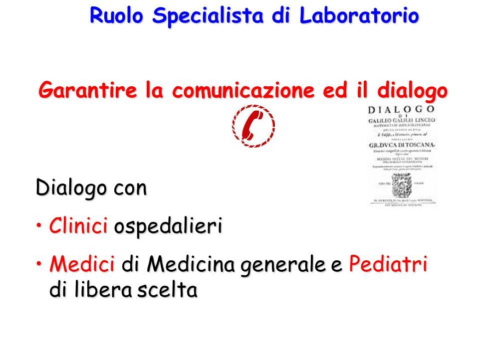 Ruolo Specialista di Laboratorio Dialogo con Clinici ospedalieriClinici ospedalieri Medici di Medicina generale e Pediatri di libera sceltaMedici di Medicina generale e Pediatri di libera scelta Garantire la comunicazione ed il dialogo