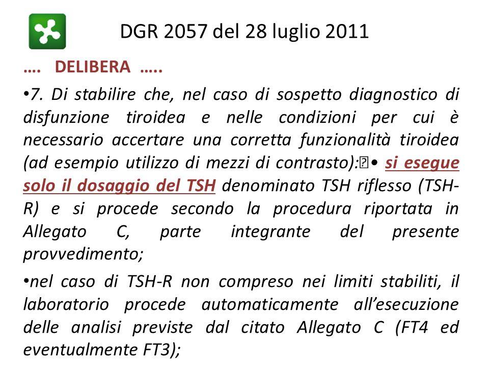 DGR 2057 del 28 luglio 2011 …. DELIBERA ….. 7. Di stabilire che, nel caso di sospetto diagnostico di disfunzione tiroidea e nelle condizioni per cui è