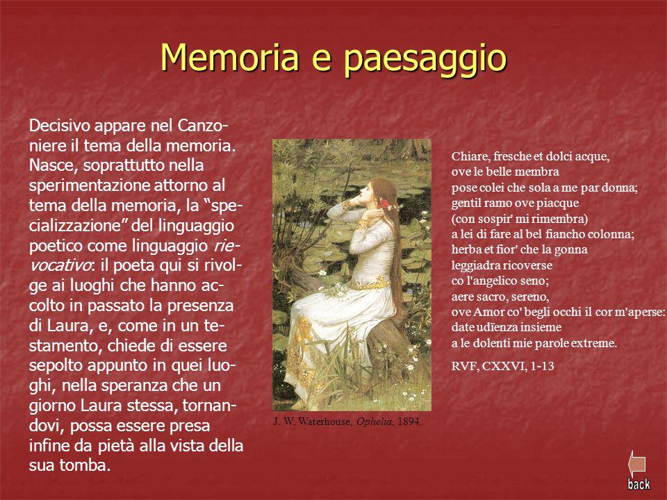 Memoria e paesaggio Decisivo appare nel Canzo- niere il tema della memoria. Nasce, soprattutto nella sperimentazione attorno al tema della memoria, la