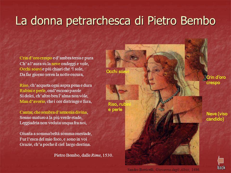 La donna petrarchesca di Pietro Bembo Crin d'oro crespo e d'ambra tersa e pura Ch' a l'aura su la neve ondeggi e vole, Occhi soavi e più chiari che 'l