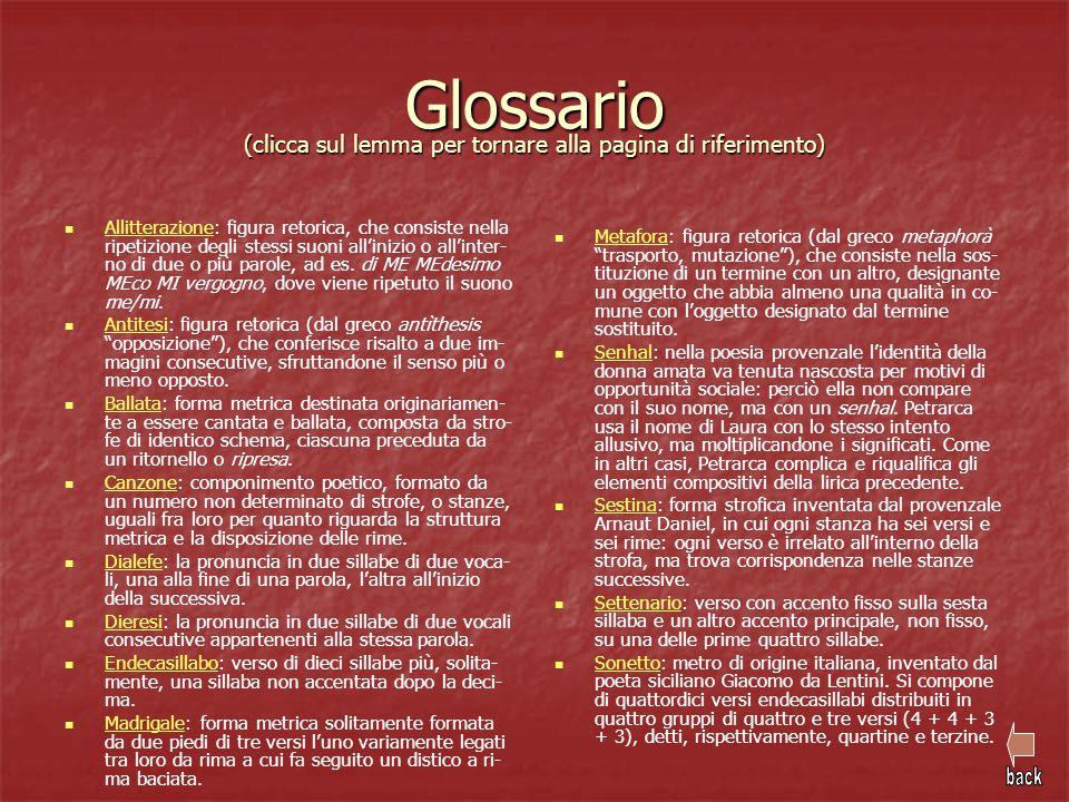 Glossario (clicca sul lemma per tornare alla pagina di riferimento) Allitterazione: figura retorica, che consiste nella ripetizione degli stessi suoni