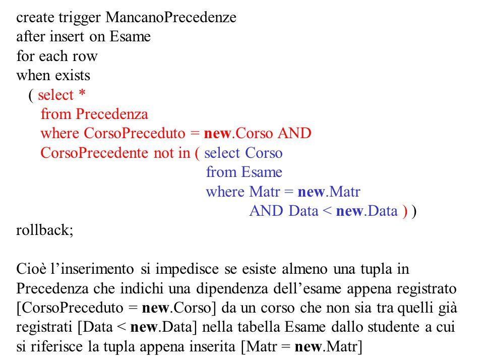 create trigger MancanoPrecedenze after insert on Esame for each row when exists ( select * from Precedenza where CorsoPreceduto = new.Corso AND CorsoP