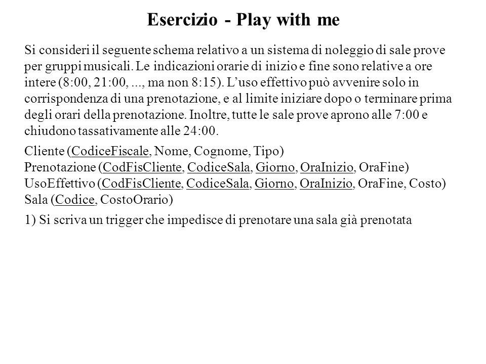 Esercizio - Play with me Si consideri il seguente schema relativo a un sistema di noleggio di sale prove per gruppi musicali. Le indicazioni orarie di