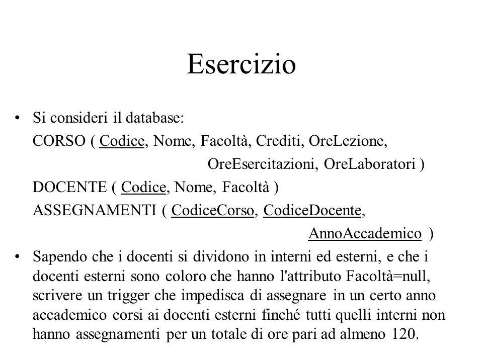 Esercizio Si consideri il database: CORSO ( Codice, Nome, Facoltà, Crediti, OreLezione, OreEsercitazioni, OreLaboratori ) DOCENTE ( Codice, Nome, Faco