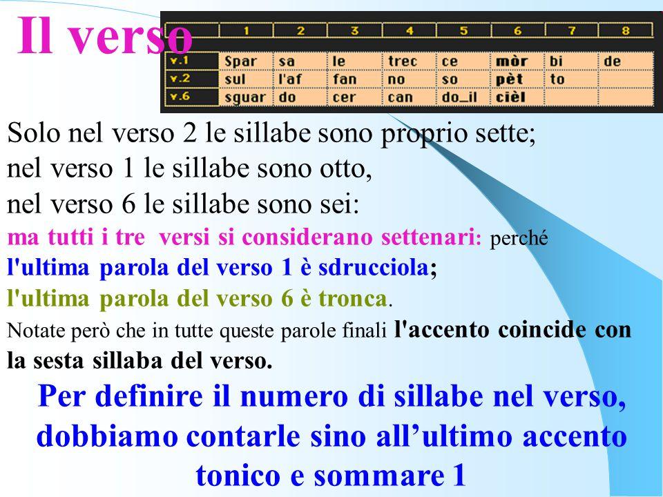 Solo nel verso 2 le sillabe sono proprio sette; nel verso 1 le sillabe sono otto, nel verso 6 le sillabe sono sei: ma tutti i tre versi si considerano