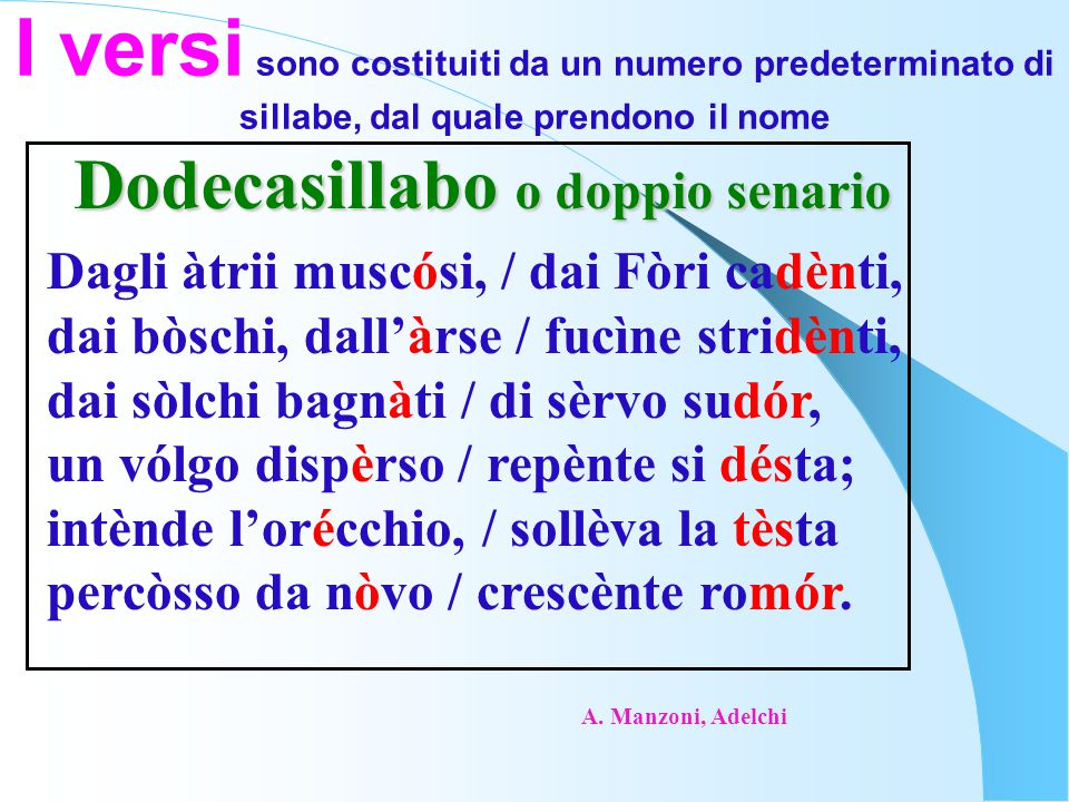 I versi sono costituiti da un numero predeterminato di sillabe, dal quale prendono il nome Dodecasillabo o doppio senario Dagli àtrii muscósi, / dai F
