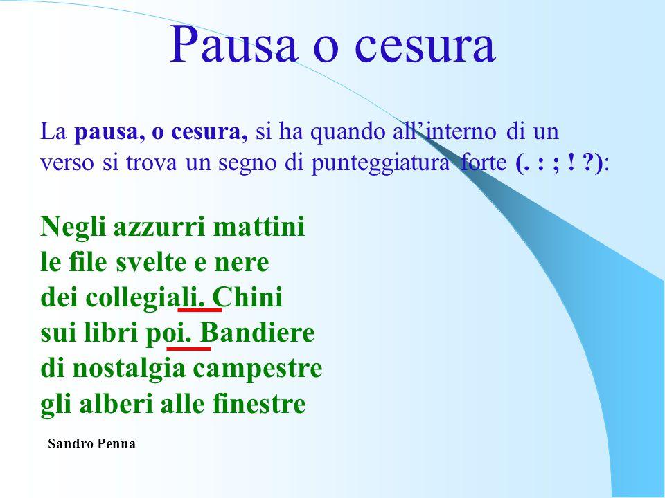 Pausa o cesura La pausa, o cesura, si ha quando all'interno di un verso si trova un segno di punteggiatura forte (. : ; ! ?): Negli azzurri mattini le