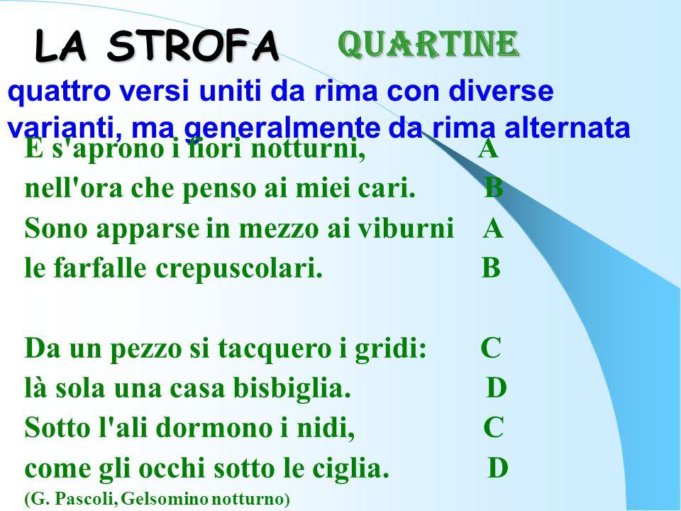 LA STROFA quattro versi uniti da rima con diverse varianti, ma generalmente da rima alternata E s'aprono i fiori notturni, A nell'ora che penso ai mie