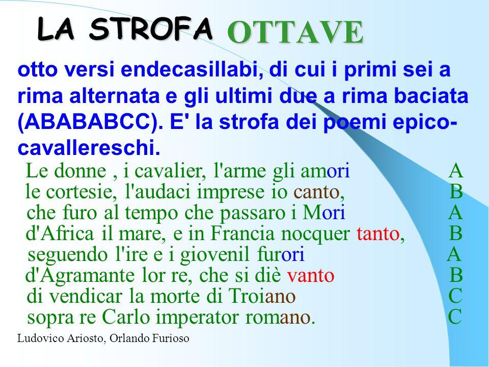 LA STROFA otto versi endecasillabi, di cui i primi sei a rima alternata e gli ultimi due a rima baciata (ABABABCC). E' la strofa dei poemi epico- cava