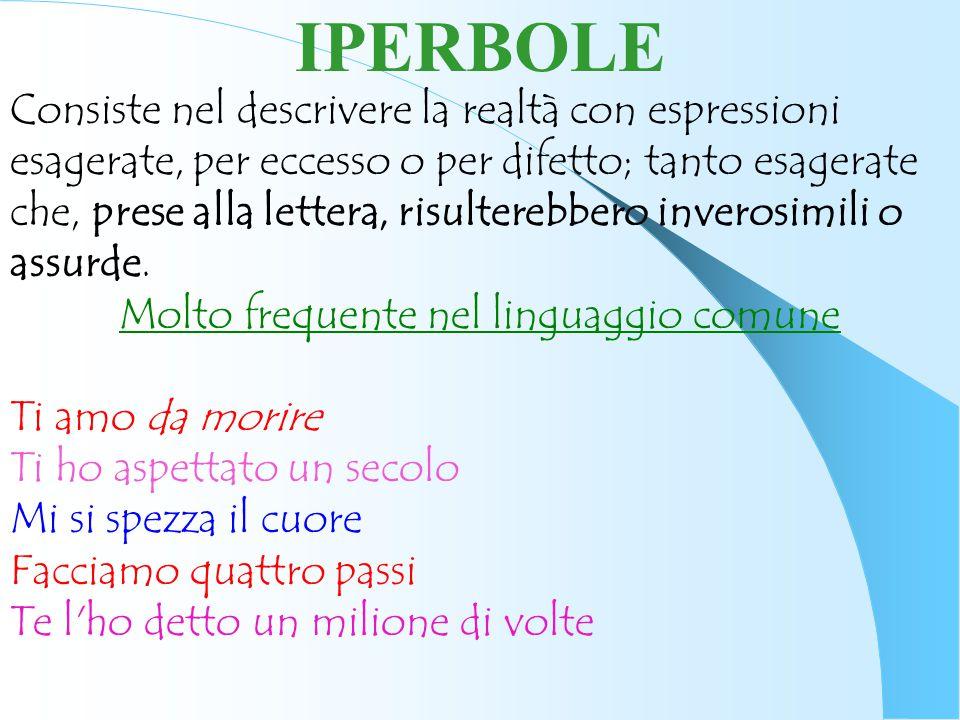 IPERBOLE Consiste nel descrivere la realtà con espressioni esagerate, per eccesso o per difetto; tanto esagerate che, prese alla lettera, risulterebbe