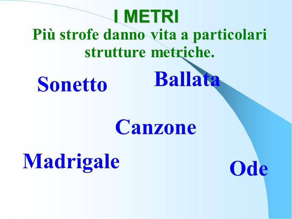 Più strofe danno vita a particolari strutture metriche. Sonetto Ballata Canzone Ode Madrigale I METRI