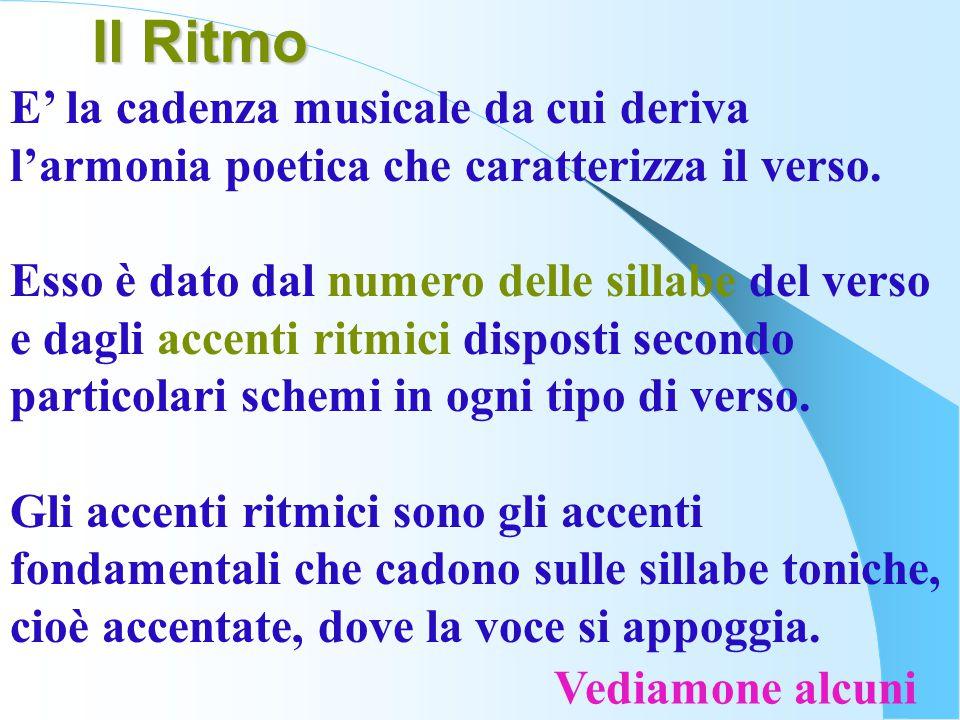 E' la cadenza musicale da cui deriva l'armonia poetica che caratterizza il verso. Esso è dato dal numero delle sillabe del verso e dagli accenti ritmi
