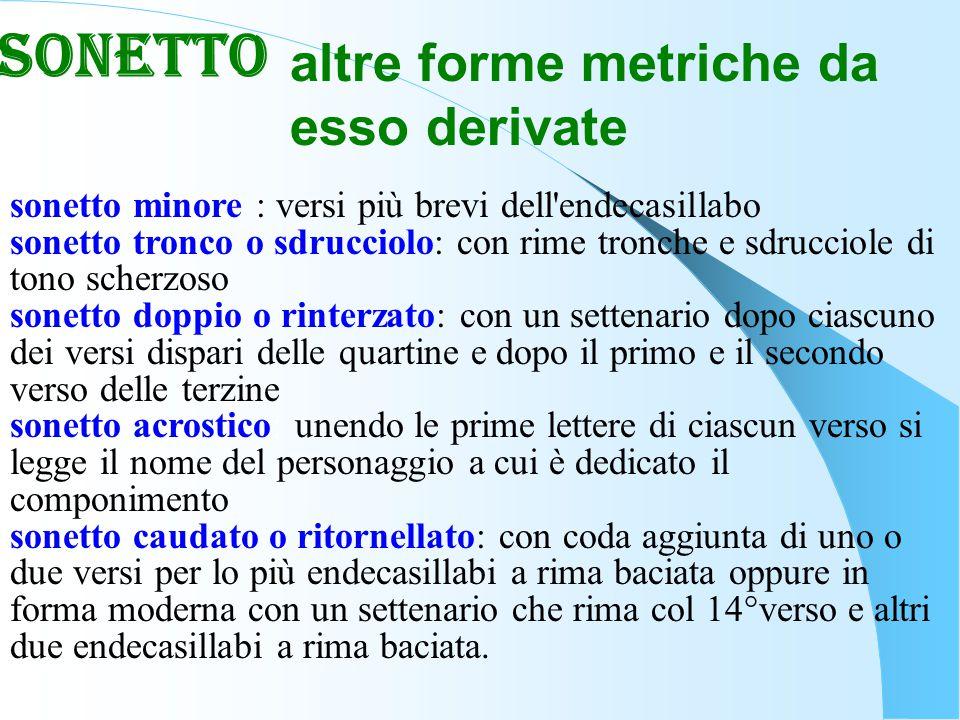 altre forme metriche da esso derivate sonetto minore : versi più brevi dell'endecasillabo sonetto tronco o sdrucciolo: con rime tronche e sdrucciole d