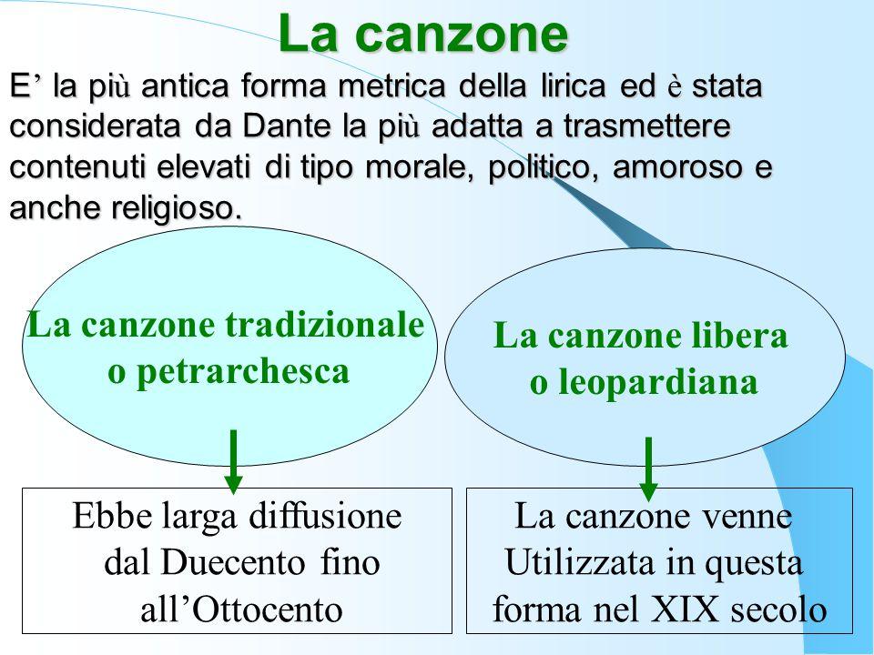 La canzone E ' la pi ù antica forma metrica della lirica ed è stata considerata da Dante la pi ù adatta a trasmettere contenuti elevati di tipo morale