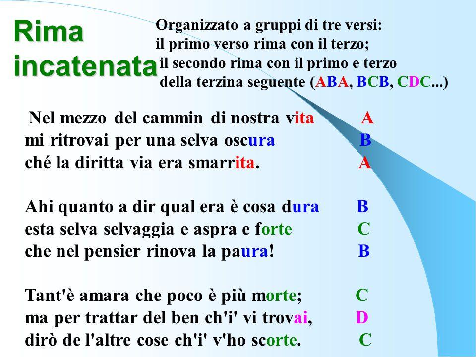 Rima incatenata Organizzato a gruppi di tre versi: il primo verso rima con il terzo; il secondo rima con il primo e terzo della terzina seguente (ABA,