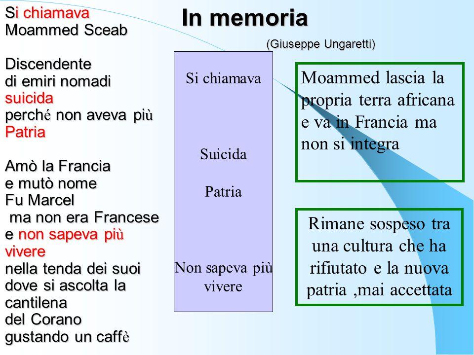 Si chiamava Moammed Sceab Discendente di emiri nomadi suicida perch é non aveva pi ù Patria Amò la Francia e mutò nome Fu Marcel ma non era Francese e