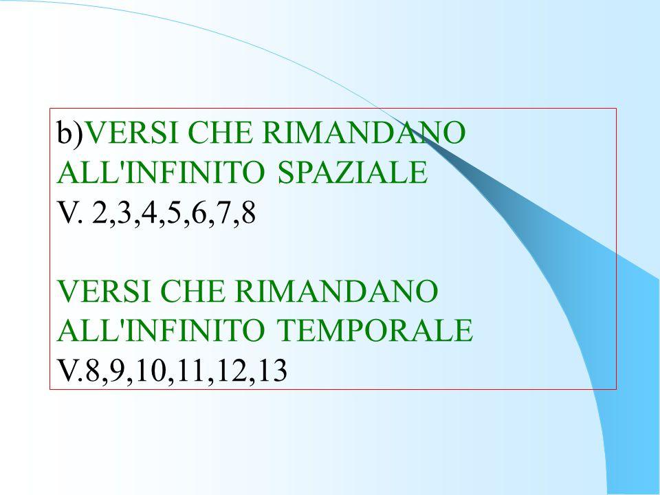 b)VERSI CHE RIMANDANO ALL'INFINITO SPAZIALE V. 2,3,4,5,6,7,8 VERSI CHE RIMANDANO ALL'INFINITO TEMPORALE V.8,9,10,11,12,13