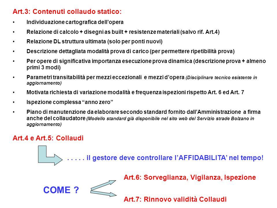 Art.3: Contenuti collaudo statico: Individuazione cartografica dell'opera Relazione di calcolo + disegni as built + resistenze materiali (salvo rif. A