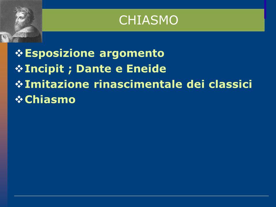 CHIASMO  Esposizione argomento  Incipit ; Dante e Eneide  Imitazione rinascimentale dei classici  Chiasmo