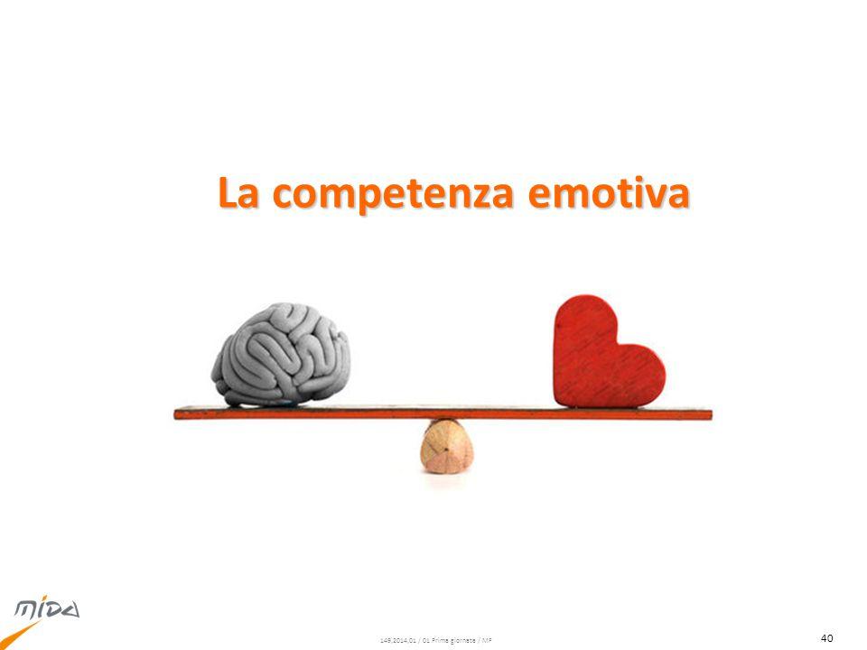 149,2014,01 / 01 Prima giornata / MF È possibile lavorare su se stessi per viverle come risorsa Le emozioni sono una risorsa Le emozioni sono una risorsa La competenza emotiva 41