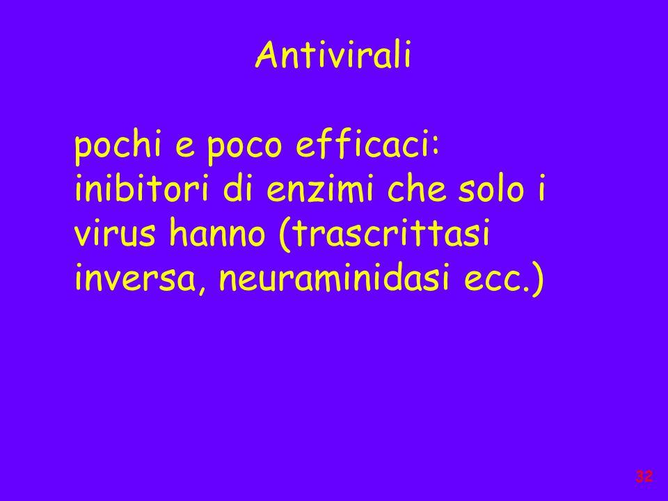 Antivirali pochi e poco efficaci: inibitori di enzimi che solo i virus hanno (trascrittasi inversa, neuraminidasi ecc.) 32