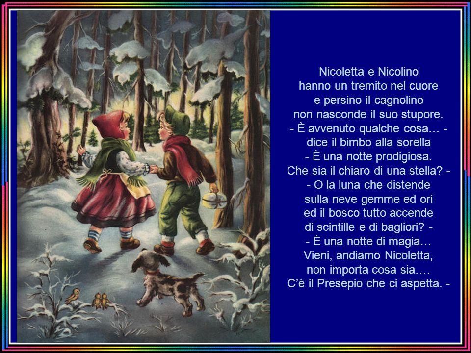Nicoletta e Nicolino hanno un tremito nel cuore e persino il cagnolino non nasconde il suo stupore.