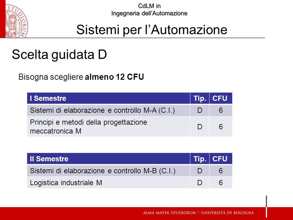 Bisogna scegliere almeno 12 CFU I SemestreTip.CFU Sistemi di elaborazione e controllo M-A (C.I.) D6 Principi e metodi della progettazione meccatronica M D6 II SemestreTip.CFU Sistemi di elaborazione e controllo M-B (C.I.) D6 Logistica industriale M D6 Scelta guidata D Sistemi per l'Automazione