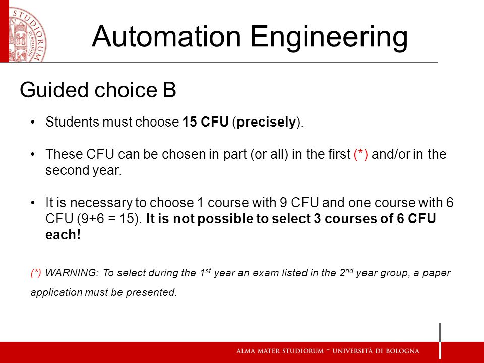 Students must choose 15 CFU (precisely).
