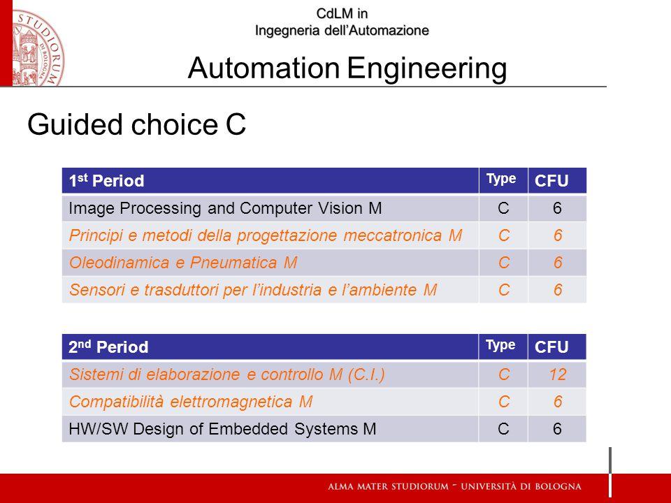 1 st Period Type CFU Image Processing and Computer Vision M C6 Principi e metodi della progettazione meccatronica M C6 Oleodinamica e Pneumatica M C6 Sensori e trasduttori per l'industria e l'ambiente M C6 2 nd Period Type CFU Sistemi di elaborazione e controllo M (C.I.) C12 Compatibilità elettromagnetica M C6 HW/SW Design of Embedded Systems M C6 Guided choice C Automation Engineering