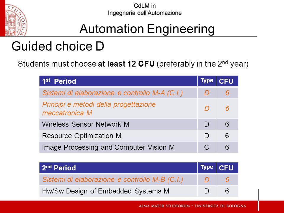 Students must choose at least 12 CFU (preferably in the 2 nd year) 1 st Period Type CFU Sistemi di elaborazione e controllo M-A (C.I.) D6 Principi e metodi della progettazione meccatronica M D6 Wireless Sensor Network M D6 Resource Optimization M D6 Image Processing and Computer Vision M C6 Guided choice D 2 nd Period Type CFU Sistemi di elaborazione e controllo M-B (C.I.) D6 Hw/Sw Design of Embedded Systems M D6 Automation Engineering