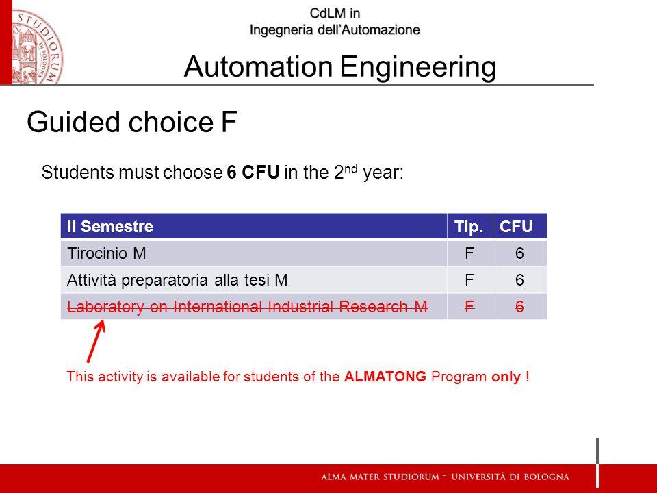 II SemestreTip.CFU Tirocinio M F6 Attività preparatoria alla tesi M F6 Laboratory on International Industrial Research M F6 Students must choose 6 CFU