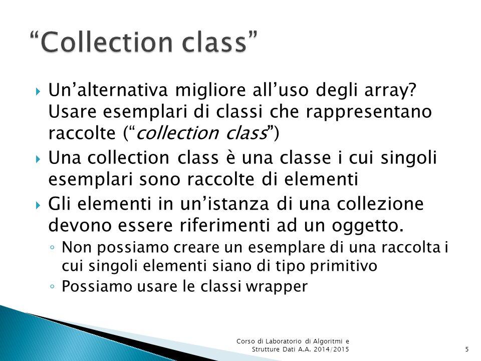  La programmazione parametrica dimostra tutta la sua utilità nella realizzazione di collezioni, ovvero classi deputate a contenere altri oggetti public class ArrayList  Per creare un'istanza, numberList, della classe ArrayList, i cui elementi siano di tipo (referenza a) Double : ArrayList numberList = new ArrayList (); Corso di Laboratorio di Algoritmi e Strutture Dati A.A.