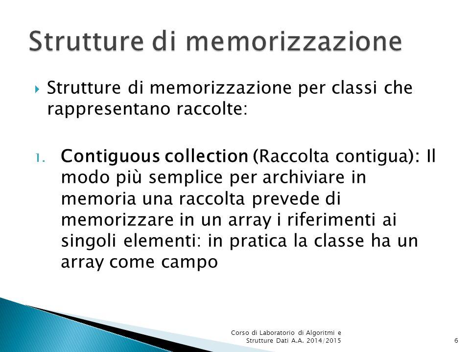 Esempi di uso:  Inserimento numberList.add(new Double(2.7)); numberList.add(2.7);  Accesso: Double wrapValue = numberList.get(0);  Uso in un'espressione: Sum = sum + wrapValue.doubleValue(); Sum = sum + wrapValue; Corso di Laboratorio di Algoritmi e Strutture Dati A.A.