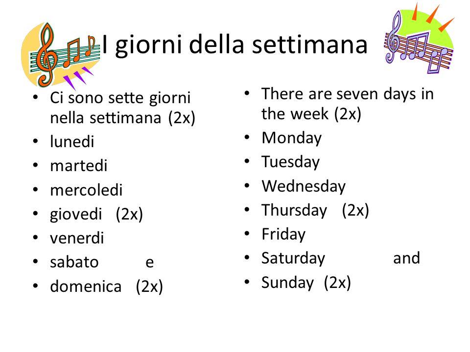 I giorni della settimana Ci sono sette giorni nella settimana (2x) lunedi martedi mercoledi giovedi (2x) venerdi sabato e domenica (2x) There are seve