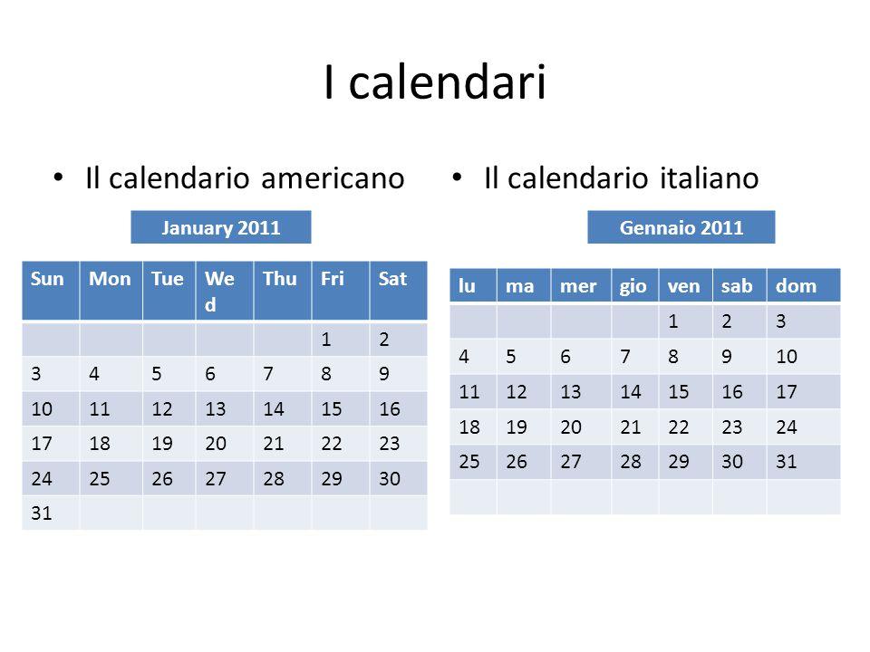 I calendari Il calendario americano Il calendario italiano January 2011 SunMonTueWe d ThuFriSat 12 3456789 10111213141516 17181920212223 2425262728293
