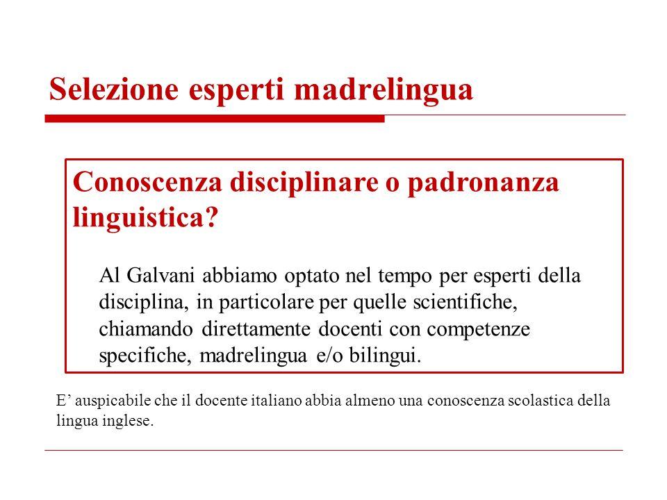 Selezione esperti madrelingua Conoscenza disciplinare o padronanza linguistica? Al Galvani abbiamo optato nel tempo per esperti della disciplina, in p